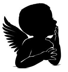 Silhouette of baby angel thinks leaning his hand to his lips
