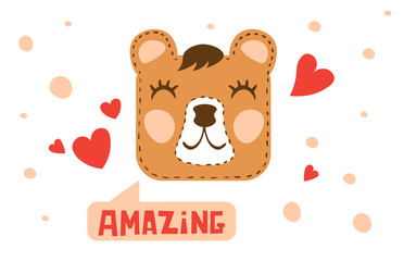 Hand drawn illustration of bear face and hearts. Kids color doodles cartoon animal. White background.