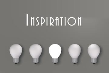 Inspiration, Glühbirnen mit einer leuchtenden. 3d render
