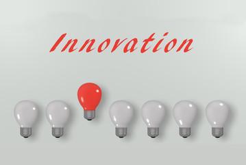 Konzept: Innovation, mit Glühbirnen und Text. 3d render