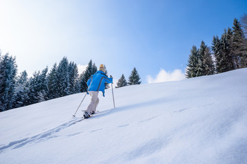 Woman is hiking with snowshoes on snow in winter landscape of forest in Oberstdorf, Bavaria Alps in South of Germany. Beautiful landscape with coniferous trees and white snow. Winter sport activity.
