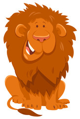 funny lion cartoon wild animal character