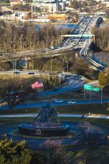 MARCH 26, 2018 - Iwo Jima Memorial for World War II and US Flag, Arlington, Virginia near Arlington Cemetery