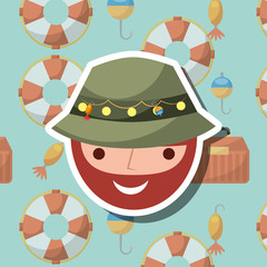 fisherman character cartoon face fishing icons background vector illustration