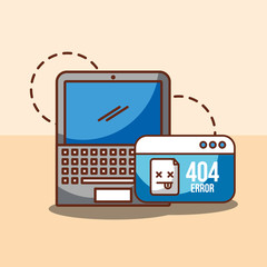laptop and website 404 error page not found vector illustration