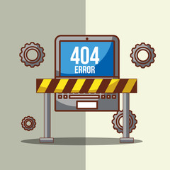 laptop with barricade tape of 404 error page not found vector illustration