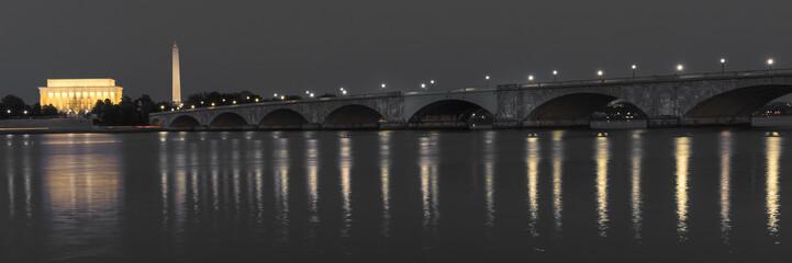 APRIL 10, 2018 - WASHINGTON D.C. - Memorial Bridge at dusk spans Potomac River and features Lincoln Memorial and Washington Monument