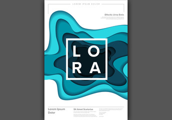 Flyer Layout with Blue Cut Paper Effect Elements