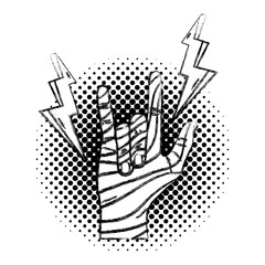 grunge hand with rock gesture sign and fashion thunders