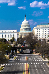 APRIL 11, 2018 WASHINGTON D.C. - Elevated view down Capitol St, to US Capitol, Washington DC.