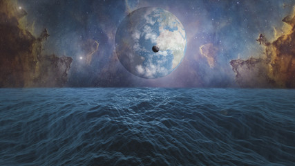 World and Moon. Ocean with big waves. Surrealistic and fantastic 3D rendering. Clouds, stars, Orion nebula, sea, waves, earth.
