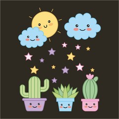 kawaii potted plants and cloud sun dark background cartoon vector illustration