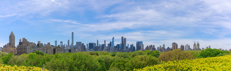 Panorama of midtown Manhattan skyline over central park