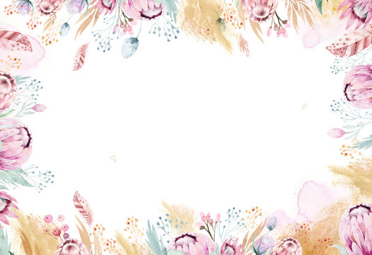 Hand drawing isolated watercolor floral illustration with protea rose, leaves, branches and flowers. Bohemian gold crystal frames. Elements for greeting wedding card.