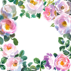 Greeting card template with floral ornament frame