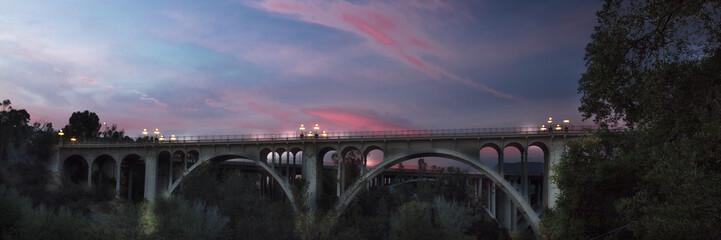 Historic Colorado Bridge Arches at dusk, Pasadena, CA