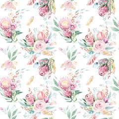 Hand drawing watercolor floral pattern with protea rose, leaves, branches and flowers. Bohemian seamless gold pink patterns prorea. Background for greeting wedding card.