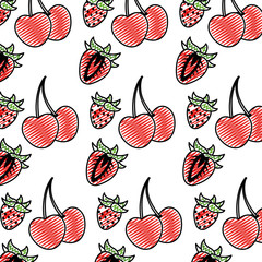 doodle delicious strawberry and cherrys fruits background
