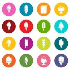 Ice cream icons set vector colorful circles isolated on white background