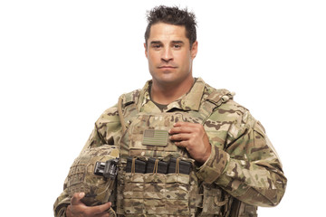 Army soldier against white background