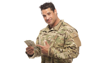 Soldier showing money