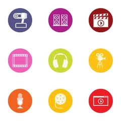 Media center icons set. Flat set of 9 media center vector icons for web isolated on white background