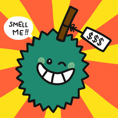 Durian smell me cartoon vector illustration doodle style