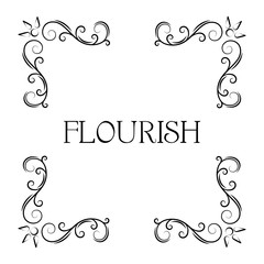 Flourish ornamental corners. Filigree swirly page decoration, calligraphic page divider. Floral vintage style. Vector.