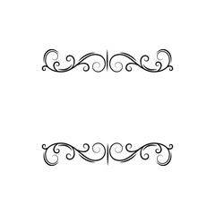 Calligraphic decorative elements, filigree page dividers. Floral swirls, curls, Ornamental design element. Save the date card, Wedding invitation, Greeting card. Vector.