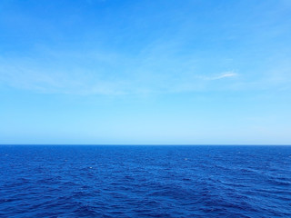 view of the ocean and blue sky with waves in the middle of the sea and white foam