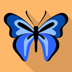 Dark blue butterfly icon. Flat illustration of dark blue butterfly vector icon for web design