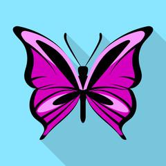 Black purple butterfly icon. Flat illustration of black purple butterfly vector icon for web design
