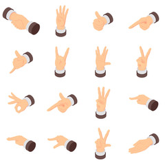 Hand gesture palm pointer icons set. Isometric illustration of 16 hand gesture palm pointer vector icons for web