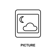 picture icon. Element of simple web icon with name for mobile concept and web apps. Thin line picture icon can be used for web and mobile