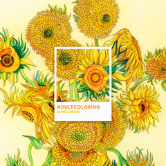 Sunflowers (1889) by Vincent van Gogh: adult coloring page