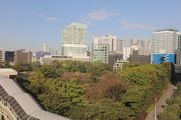 view of Tokyo Bay at Tokyo Monorail line