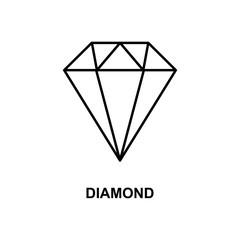 diamond icon. Element of simple web icon with name for mobile concept and web apps. Thin line diamond icon can be used for web and mobile