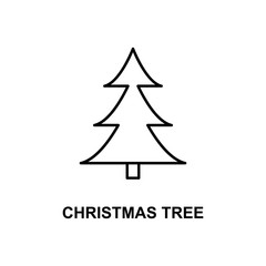 Christmas tree icon. Element of simple web icon with name for mobile concept and web apps. Thin line Christmas tree icon can be used for web and mobile