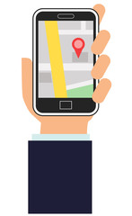 Hand holding a smartphone with map app on the screen vector image