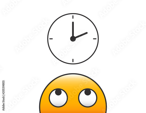emoticon character person head looking at time clock icon vector