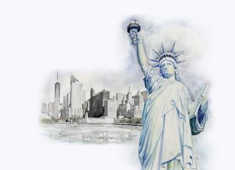Statue Liberty  in Manhattan urban. Watercolor painting