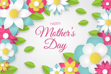 Happy Mother's Day greeting card with colorful flowers. Vector illustration