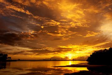 Beautiful sunset sky at the beach landscape