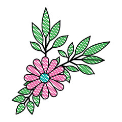 flower and leafs decorative icon vector illustration design