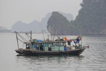 Ha Long Bay , Vietnam-29 November 2014:Fishing boat in Ha long Bay, Panoramic view of sunset in Halong Bay, Vietnam, Southeast Asia,UNESCO World Heritage Site