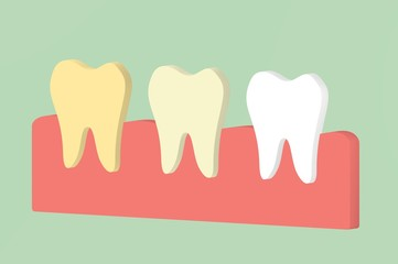 yellow to white tooth, teeth whitening concept