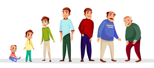 Vector cartoon male character growth and aging process. Happy people - toddler baby kid, teenager in glasses, young adult middle-age character and senior old men set. Age generation life cycle concept
