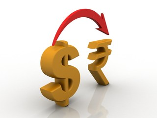 3d rendering Dollar symbol with indian rupee