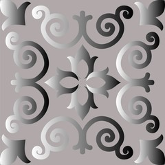 Decorative element, abstract image of a silvery flower, background for design.