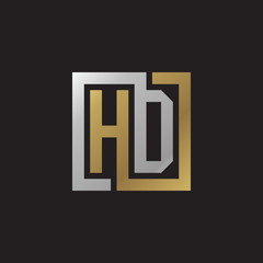 Initial letter HD, looping line, square shape logo, silver gold color on black background